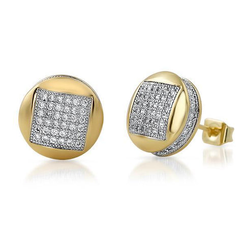 Gold Micropave CZ Iced Out Round Earrings