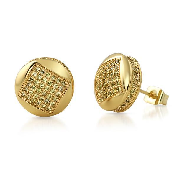 Canary Stones Micropave CZ Iced Out Round Earrings
