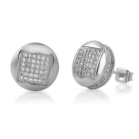 White Gold Finish Micropave CZ Iced Out Round Earrings