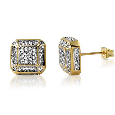 Gold Fancy Octagon Lab Diamond Earrings