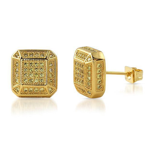 Gold Canary Fancy Octagon Lab Diamond Earrings