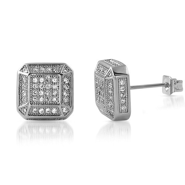 Silver Fancy Octagon Lab Diamond Earrings