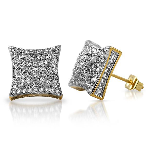Gold 11mm Puffed Kite Micropave CZ Earrings