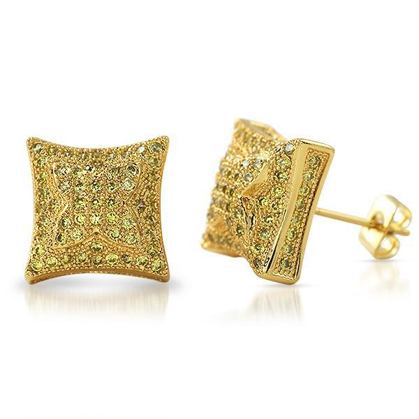 Lemonade 11mm Puffed Kite Micropave CZ Earrings