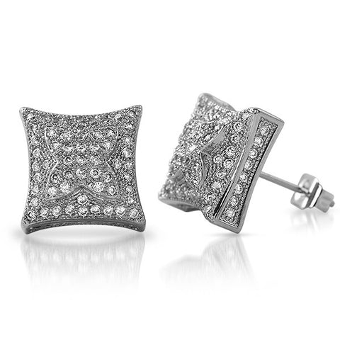 Silver Tone 11mm Puffed Kite Micropave CZ Earrings