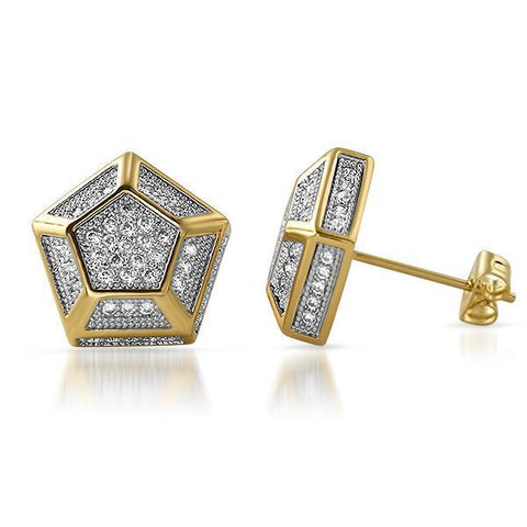 Large 13mm Custom Hexagon Gold Earrings