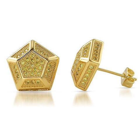 Large 13mm Custom Hexagon Gold Canary Earrings