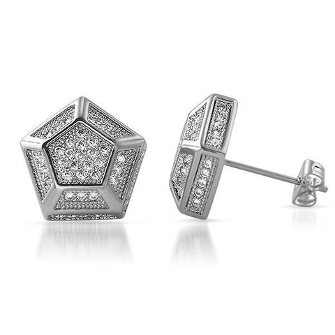 Large 13mm Custom Hexagon Silver Earrings