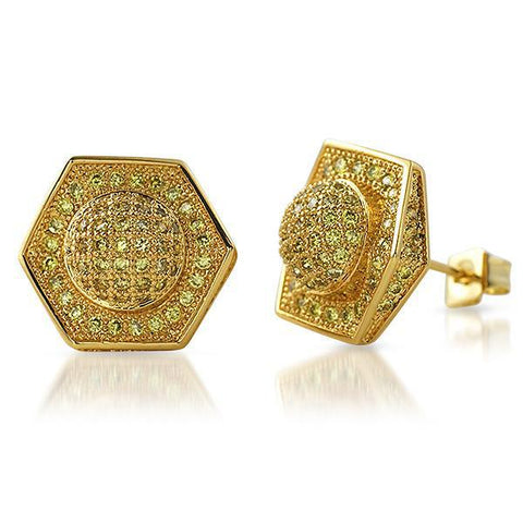Gold Canary 13mm Custom Satellite Iced Out Earrings