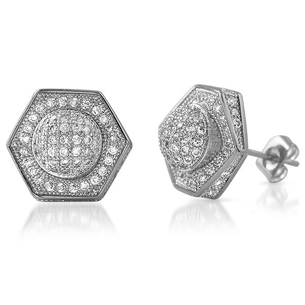 Platinum Tone 13mm Custom Satellite Iced Out Earrings