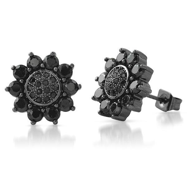 Black Gold Finish 12mm Sunburst CZ Earrings