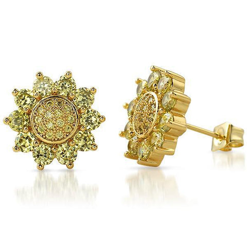 Gold Canary 12mm Sunburst CZ Earrings