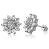 White Gold Finish 12mm Sunburst CZ Earrings