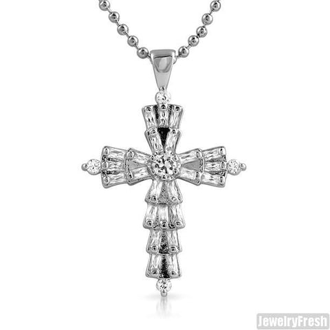 Rhodium Finish Fancy Baguette Cut CZ Mini Cross