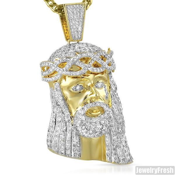 18k Gold Finish  Simulated Diamond 3D Jesus Pendant