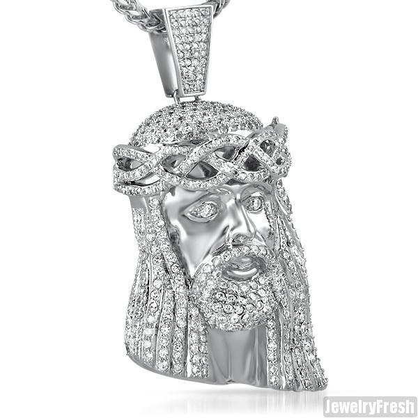 Rhodium Simulated Diamond 3D Jesus Pendant