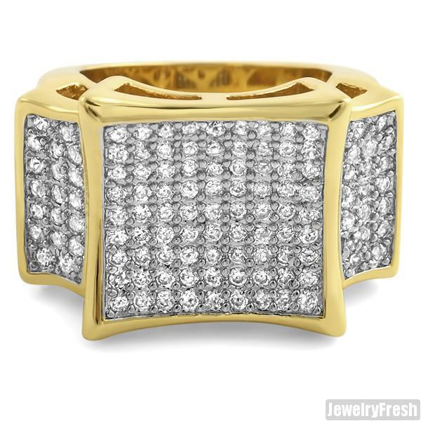 Gold Finish Large Kite Micropave CZ Mens Ring