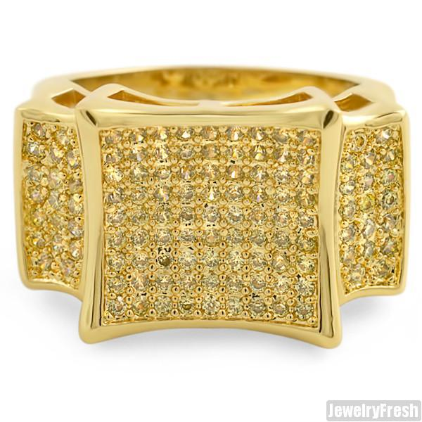 Gold Finish Lemonade Large Kite Micropave CZ Mens Ring