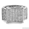 White Gold Finish Large Kite Micropave CZ Mens Ring
