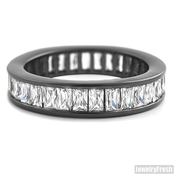 Black Finish Baguette Stone CZ Eternity Ring Band