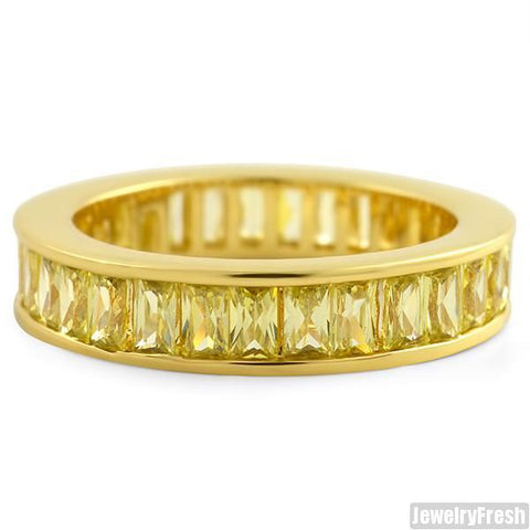 Canary Lemonade Baguette Stone CZ Eternity Ring