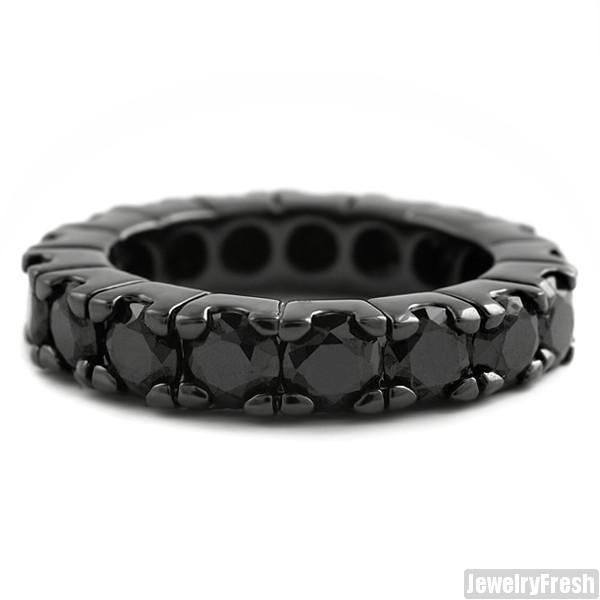 Black Finish Big Rocks Prong Set CZ Eternity Ring