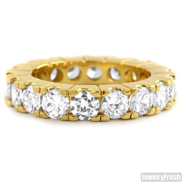 Gold Finish Big Rocks Prong Set CZ Eternity Ring