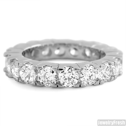 Rhodium Finish Big Rocks Prong Set CZ Eternity Ring