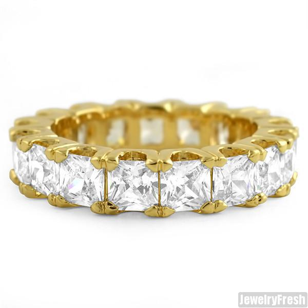 Gold Finish Large Princess Cut Eternity Ring Band