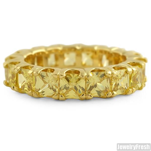 Gold Canary Large Princess Cut Eternity Ring Band