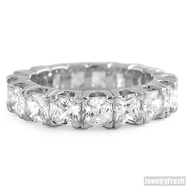 Rhodium Large Princess Cut Eternity Ring Band