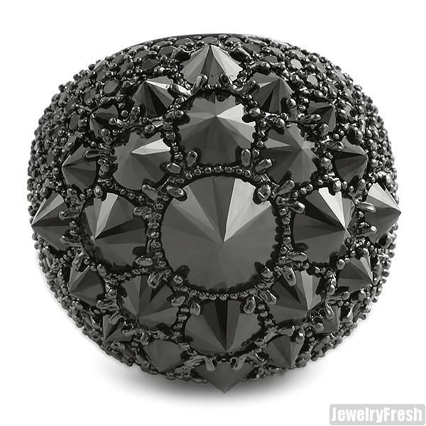 Black Finish Fully Iced Jumbo Spiky Stones CZ Ring