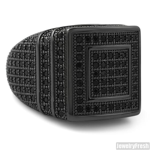 All Black Hip Hop 360 Micropave CZ Square Ring