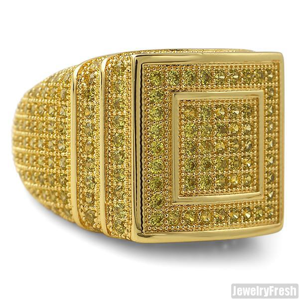 Canary Yellow Gold 360 Micropave CZ Square Ring