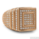 14k Rose Gold Finish 360 Micropave CZ Square Ring