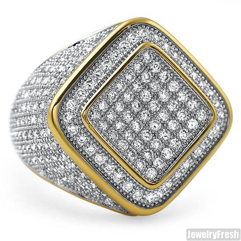 Diamond Shape Micropave 360 CZ Mens Ring Gold