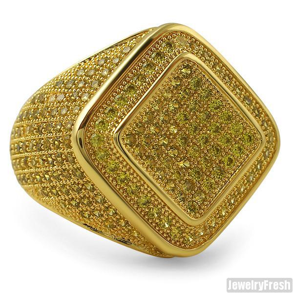Diamond Shape Micropave 360 CZ Mens Ring Canary