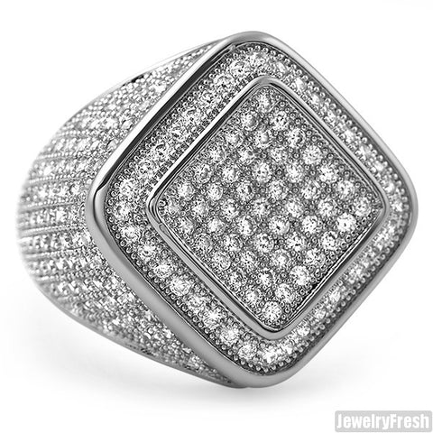 Diamond Shape Micropave 360 CZ Mens Ring Rhodium