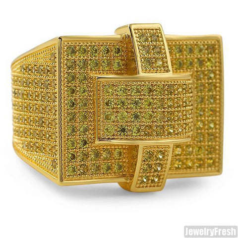 Canary Yellow Gold Cross Style 360 CZ Micropave Mens Ring