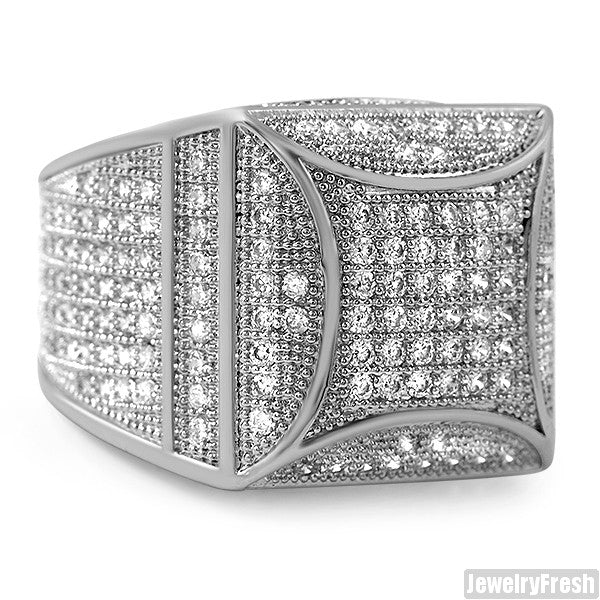 White Gold Finish Fancy Square 360 CZ Micropave Ring