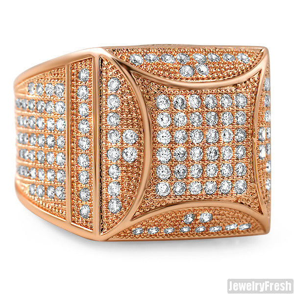 Rose Gold Fancy Square 360 CZ Micropave Ring