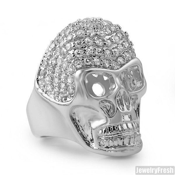 White Gold Finish CZ Mens Iced Out Skull Ring