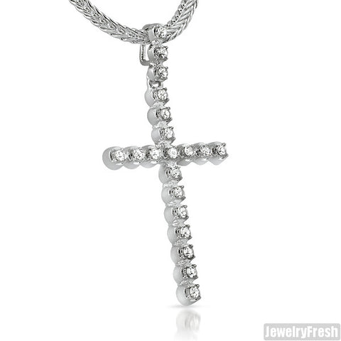 White Gold Finish Skinny Cross With Czech Crystals