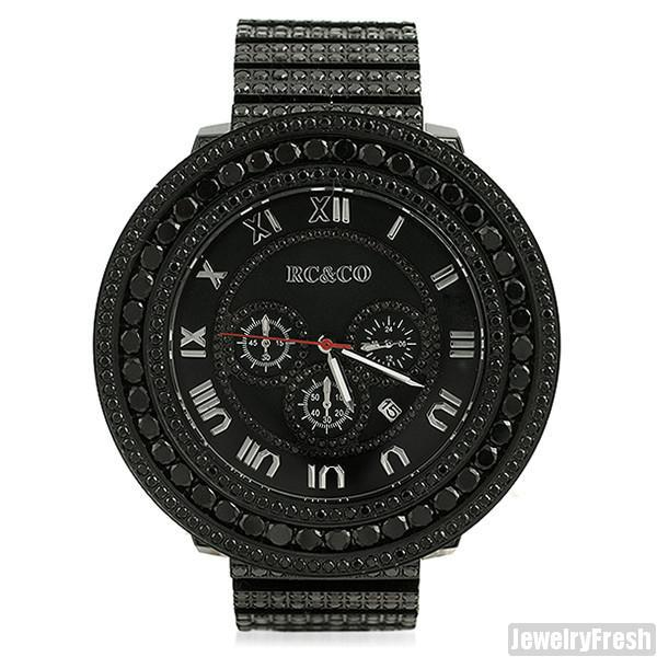 RC&Co. Luxury Pilot Watch Top Quality Black CZ Stones