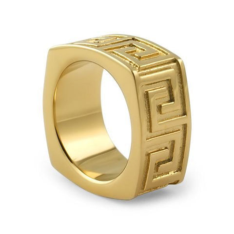 18K Gold IP Greek Key Mens Ring