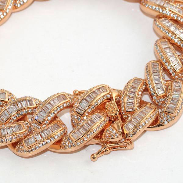 Exotic Baguette Iced Out Rose Gold Cuban Bracelet