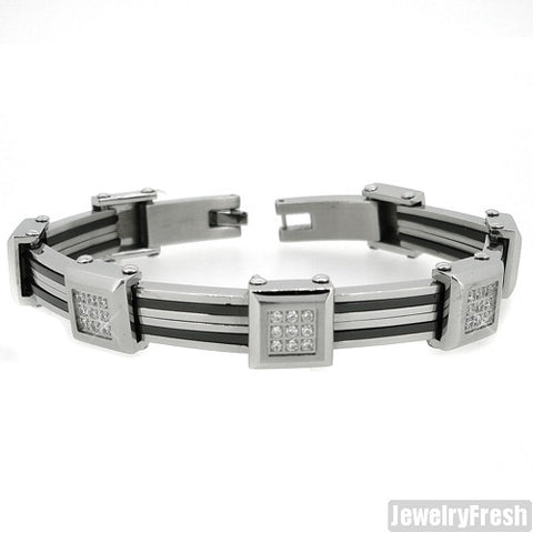 Two Tone Iced Box Stainless Steel Mens Bracelet