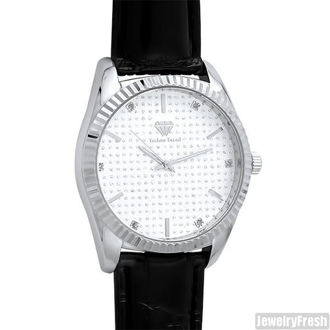 Silver Leather Real Diamond Luxury Watch