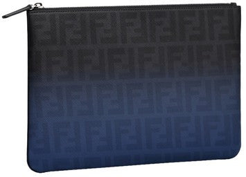 Fendi FF Fabric Zip Top Novelty Pouch - Brown/Blue