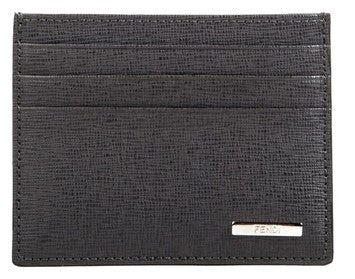 Fendi Leather Men's Cardholder Wallet - Grey